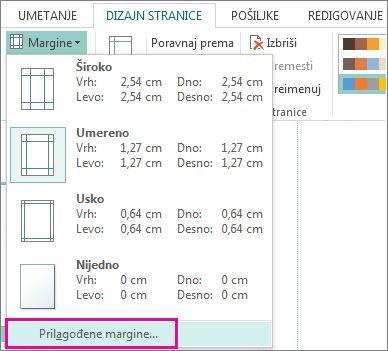 Prilagođene margine za štampanje