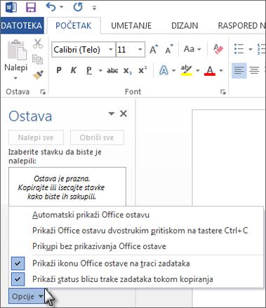Šta sve možete da uradite sa oknom zadataka Office ostave