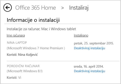 """Stranica """"Instaliranje"""" koja prikazuje ime računara i osobe koja je instalirala Office."""