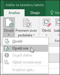 """Osveži sve izvedene tabele sa trake > alatke za izvedene tabele > Analiziraj > podataka, kliknite na strelicu ispod dugmeta """"Osveži"""" i izaberite stavku Osveži sve."""