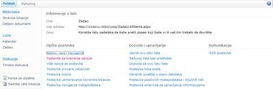 """Stranica sa postavkama biblioteke sa prikazanom vezom """"Postavke kreiranja verzija"""""""