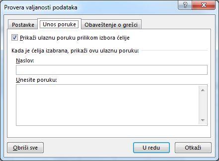 Izaberite poruku koju želite da ljudi vide kada počnu da koriste padajuću listu u programu Excel