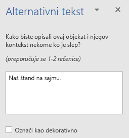 Okno za Word Win32 alternativni tekst za oblike