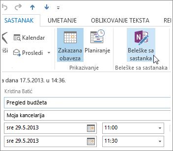 Hvatanje beležaka na Outlook sastanku