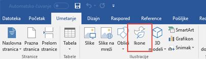 """Grupa """"Ilustracije"""" sadrži alatke koje vam omogućavaju da u dokument dodate oblike, ikone, SmartArt i još mnogo toga"""