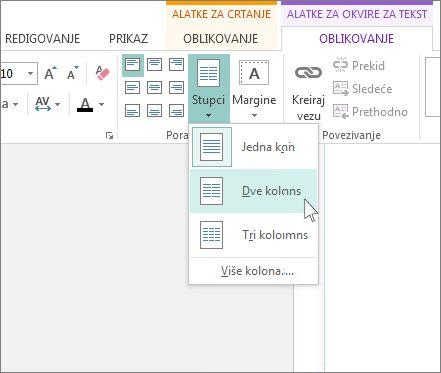 """Snimak ekrana alatki za okvire za tekst """"Kolone"""" u programu Publisher."""