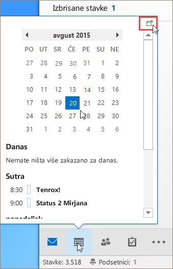 """Pogled na kalendar sa pozvanom ikonom """"Usidrenje"""""""