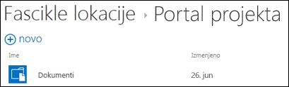 """Izaberite lokaciju sa liste """"Fascikle lokacije"""" u usluzi Office 365 da biste videli biblioteke dokumenata na toj lokaciji."""