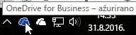 Snimak ekrana koji prikazuje kursor postavljen iznad plave ikone OneDrive sa tekstom OneDrive for Business.