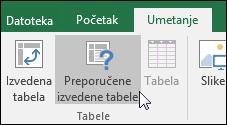 Izaberite stavke Umetanje > preporučene izvedene tabele u programu Excel za kreirate izvedenu tabelu