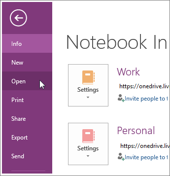 Open a notebook from the File menu