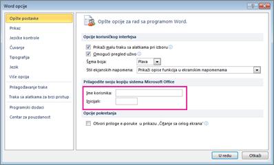Opcije programa Word 2010 personalizovanje