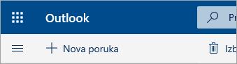 Snimak ekrana gornjeg levog ugla poštanskog sandučeta u beta verziji usluge Outlook.com