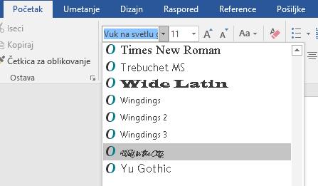 Vaš novi font se sada pojavljuje na listi fontova u programu Word.