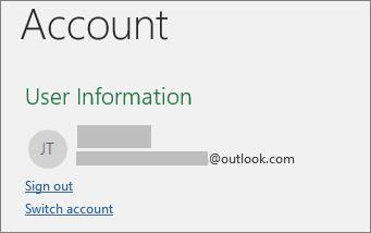 """Prikazuje vezu za odjavljivanje u prikazu """"backstage"""" u sistemu Office u operativnom sistemu Windows"""