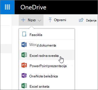 Novi meni za OneDrive, Excel radna sveska