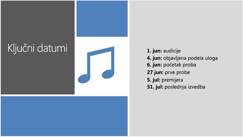 Uzorak slajda koji prikazuje tekstualnu vremensku osu u koju je dizajner za PowerPoint dodao ilustraciju i dizajn
