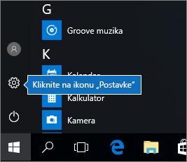 """U meniju """"Početak"""" kliknite na ikonu """"Postavke operativnog sistema Windows"""""""