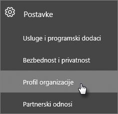 """U centru administracije idite na """"Postavke"""", a zatim na """"Profil organizacije""""."""