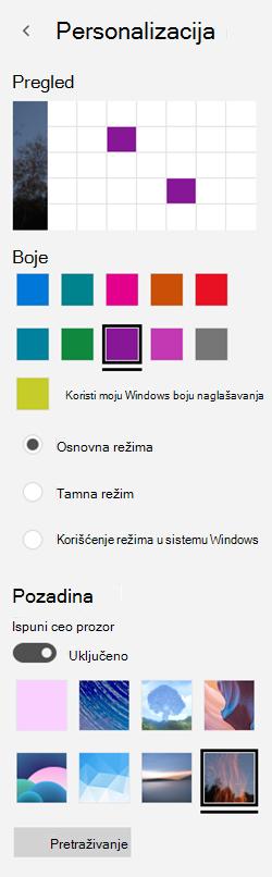 Odaberite sliku u pozadini i prilagođene boje za aplikacije