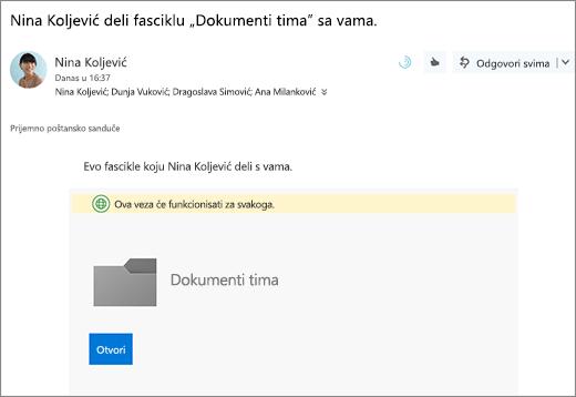 """E-poštu sa vezom za deljenje fascikle """"OneDrive"""""""