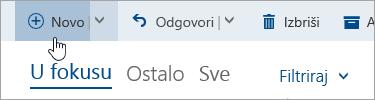 """Snimak ekrana dugmeta """"Napišite novu poruku"""""""