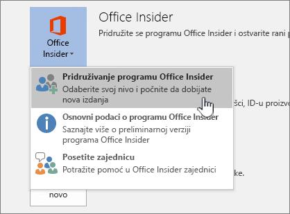 "Dugme ""pridruži se sistemu Office Insider"""