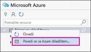Kliknite desnim tasterom miša za skladištenje naloge i zatim kliknite na dugme Poveži sa Azure skladištem