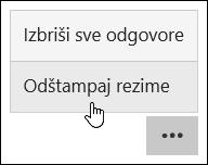 Štampanje u programu Microsoft Forms rezimea opcija