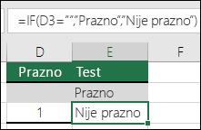 "Provera da li je ćelija prazna – Formula u ćeliji E2 je =IF(ISBLANK(D2),""Blank"",""Not Blank"")"
