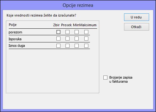 """Izaberite kako želite da se izračunavaju vrednosti rezimea u dijalogu """"Opcije rezimea"""""""