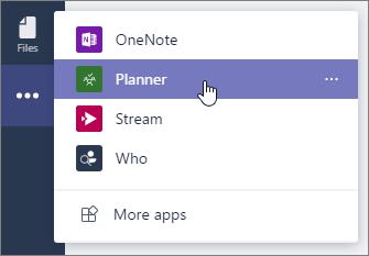 """Meni """"Aplikacije"""" u usluzi Teams, sa izabranom aplikacijom Planner."""