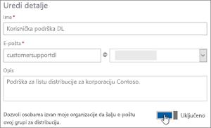Snimak ekrana: Uključivanje preklopnik da biste omogućili spoljne članove da biste poslali na dl