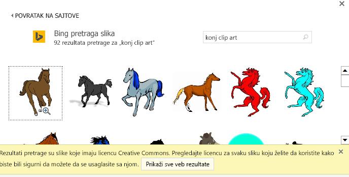 """Ako potražite """"konj clip art"""", dobićete veliki broj slika zaštićenih Creative Commons licencom."""
