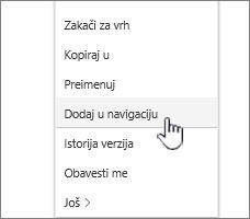 """Opcija """"Dodaj u navigaciju"""" sa liste stranica"""
