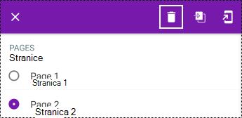 Brisanje stranice u kontekstualnom meniju u programu OneNote za Android