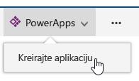 Izborom stavki PowerApps kreiranje aplikacije.