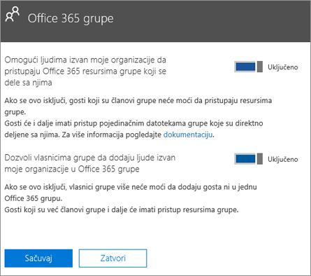 Omogući osobama van moje organizacije da pristupe Office 365 grupama i resursima