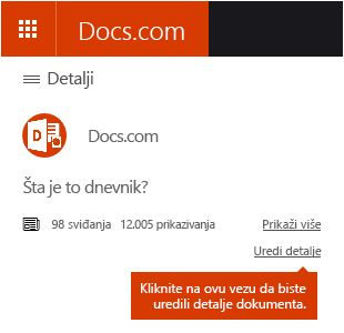 Opcija za uređivanje detalja na sajtu Docs.com