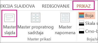 Na kartici Prikaz izaberite Master slajda.