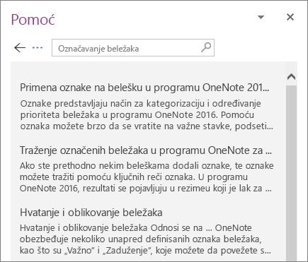 """Snimak ekrana okna """"Pomoć"""" programa OneNote koje prikazuje rezultate pretrage za označene beleške."""