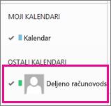 Outlook Web App sa izabranim deljenim kalendarom poštanskog sandučeta
