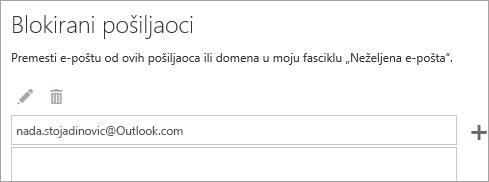 Snimak ekrana okvira za Blokirani pošiljaoci
