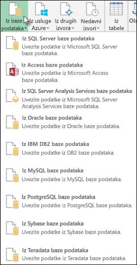 Opcije napajanja upita iz baze podataka