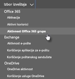 Izaberite izveštaj – Office 365 grupe