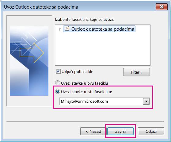 """Odaberite stavku """"Završi"""" da biste uvezli Outlook pst datoteku u Office 365 poštansko sanduče."""