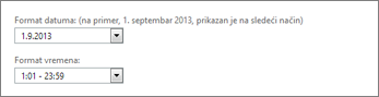 Outlook Web App postavke formata datuma i vremena