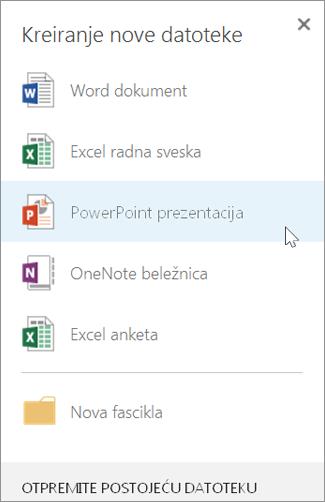 Kreiranje nove PowerPoint prezentacije