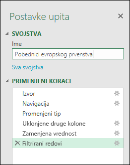 Power Query > uređivač upita > postavkama upita