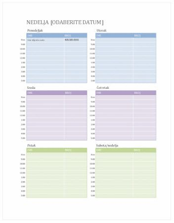 Sedmični kalendar zakazanih obaveza (Word)